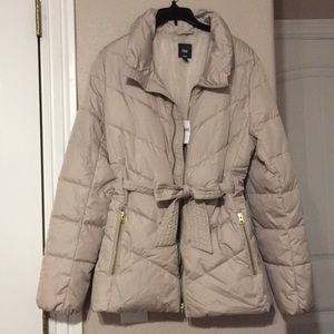 Gap Puffers with tie belt - Taupe/Tan